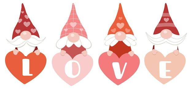 Het karakter van schattige kabouters met hart en tekst van liefde