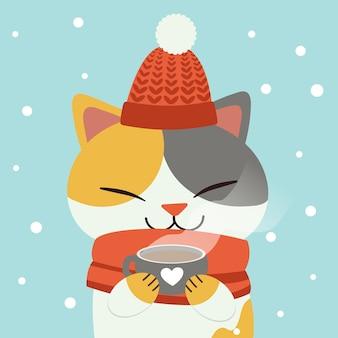 Het karakter van schattige kat die een warme chocolademelk met een witte sneeuw drinkt.