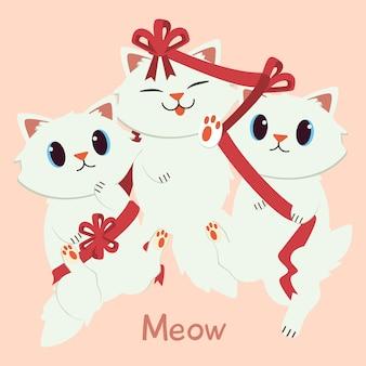 Het karakter van schattige kat en vriend spelen met een rood lint. Premium Vector