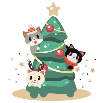 Het karakter van schattige kat spelen met kerstboom.