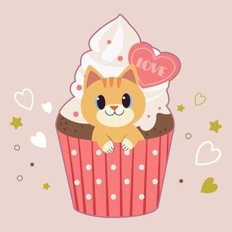 Het karakter van schattige kat zitten in de cupcake