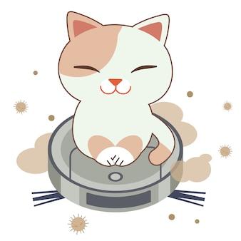 Het karakter van schattige kat zittend op de robotstofzuiger