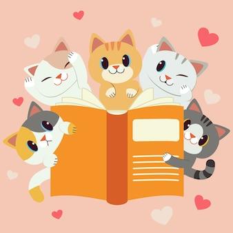 Het karakter van schattige katten met een groot boek. we houden van lezen. terug ook naar school. de kat die een boek leest