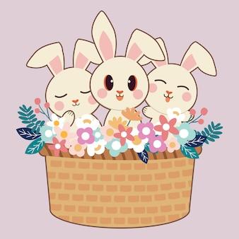 Het karakter van schattige konijn en vrienden in grote mand met bloem