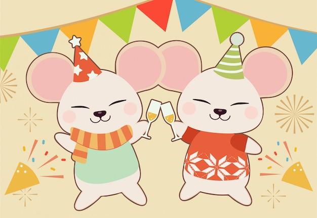 Het karakter van schattige muis dansen in het feest. de schattige muis met een wijn of champagne voor celecreation. de schattige muis draagt een feestmuts in platte vectorstijl.