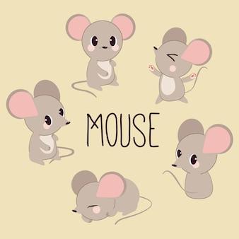 Het karakter van schattige muis in veel actie vormen.