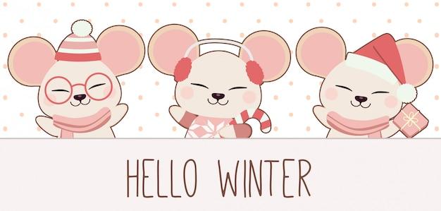 Het karakter van schattige muis zegt hallo winter voor winterthema.