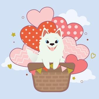 Het karakter van schattige samojeed hond zit in de luchtballon aan de hemel. de schattige samojeed zitten in de mand en hartballon