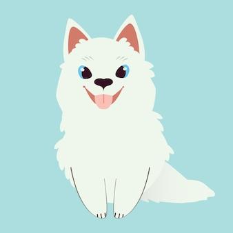 Het karakter van schattige samojeed hondenzitting