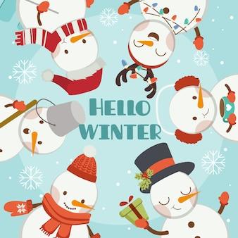 Het karakter van schattige sneeuwpop en vrienden in het blauwe kader zegt hallo winter.