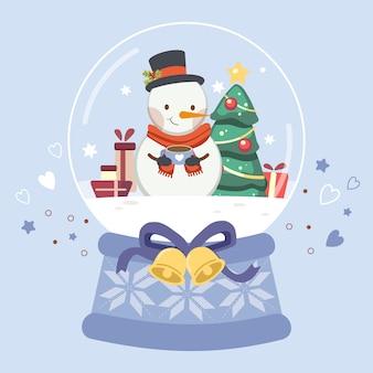Het karakter van schattige sneeuwpop in de sneeuwbol.