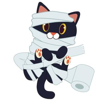 Het karakter van schattige zwarte kat als mummie met wc-papier.