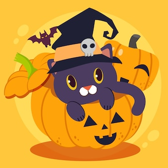 Het karakter van schattige zwarte kat draagt een grote wicth-hoed die grote pompoen zit