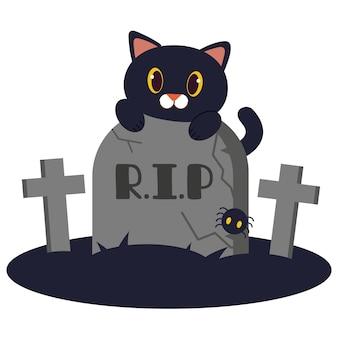 Het karakter van schattige zwarte kat kleedt zich op de grafsteen.