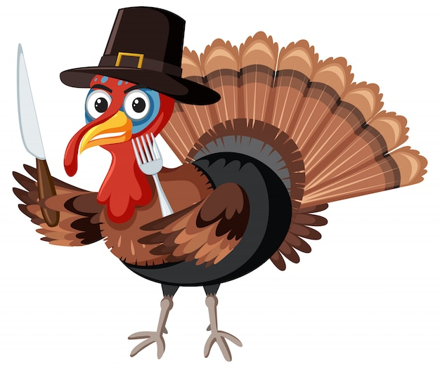 Het karakter van turkije van de dankzegging op witte achtergrond