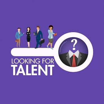 Het karakter van zakenmensen zoeken op zoek naar een talent persoon
