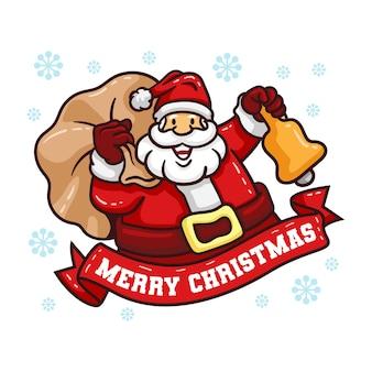 Het kerstkarakter van de kerstman snijdt een zak cadeau en houdt een bel vast