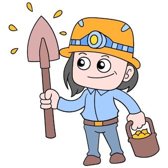 Het kind draagt in overvloed een goudmijnprojectuitrusting, vectorillustratieart. doodle pictogram afbeelding kawaii.