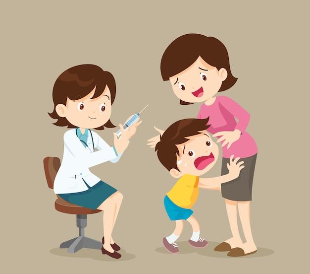 Het kind is bang voor injectie