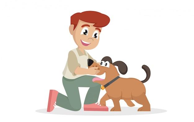 Het kind omhelst liefkozend zijn huisdier.
