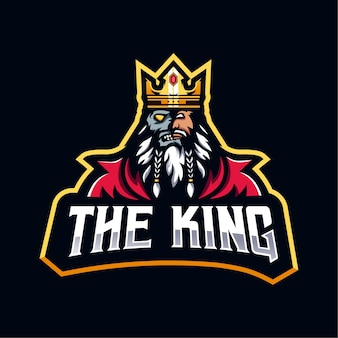 Het king logo-ontwerp. king half face skull voor esport-team