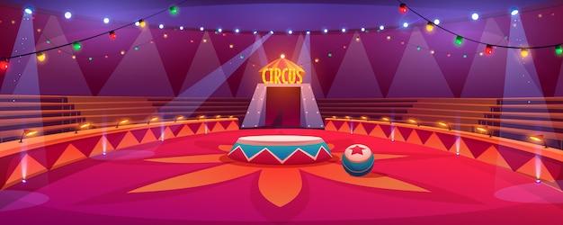 Het klassieke ronde stadium van de circusarena onder de illustratie van de tentkoepel