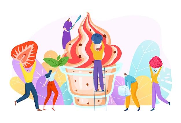 Het kleine karakter van vrolijke mensen dat een heerlijk dessert met een fruitroom maakt