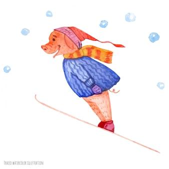 Het kleine varken op de springplank