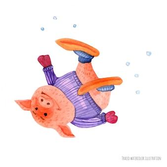 Het kleine varken viel