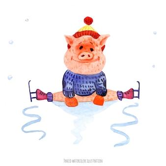 Het kleine varkentje op schaatsen