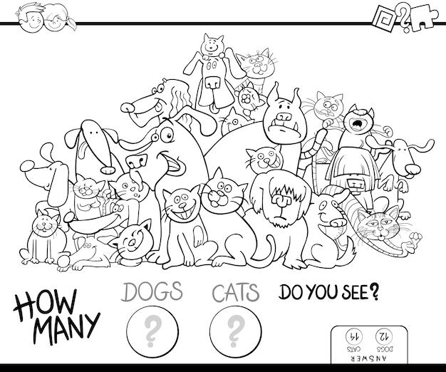 Het kleurenboek van katten en honden tellen