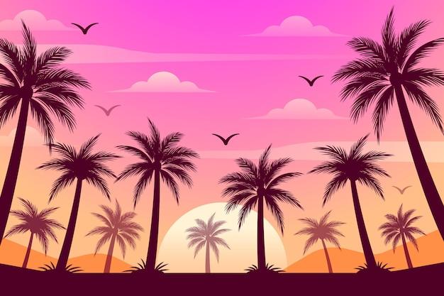 Het kleurrijke behang van palmensilhouetten