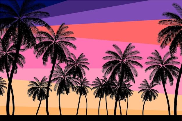 Het kleurrijke behang van palmsilhouetten