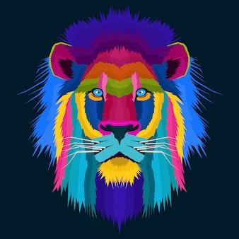 Het kleurrijke creatieve kunstwerk van het leeuwpop-art