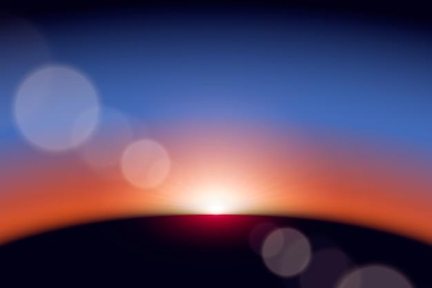 Het kleurrijke lichteffect van de aardezonsopgang