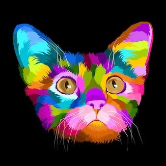 Het kleurrijke portret van het kattenpop-art