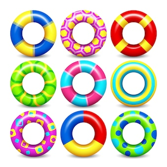 Het kleurrijke rubber zwemt ringenvector plaatste voor water het drijven. zwemmen cirkel lifesaver collectie voor c