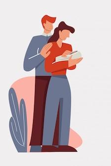 Het koesteren van moeder en vader die leuke pasgeboren baby houden die ouderschap van vlakke illustratie genieten