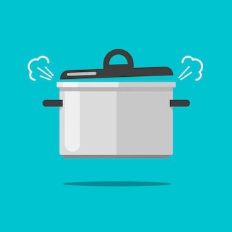Het koken van voedsel in het rollen pan of hete steelpan met stoom of damp isoleerde vlak modern de kleuren clipart beeld van de beeldverhaalillustratie