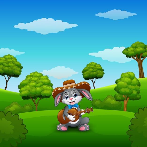 Het konijn mexicaan ontspant het spelen gitaar en het zingen in het park