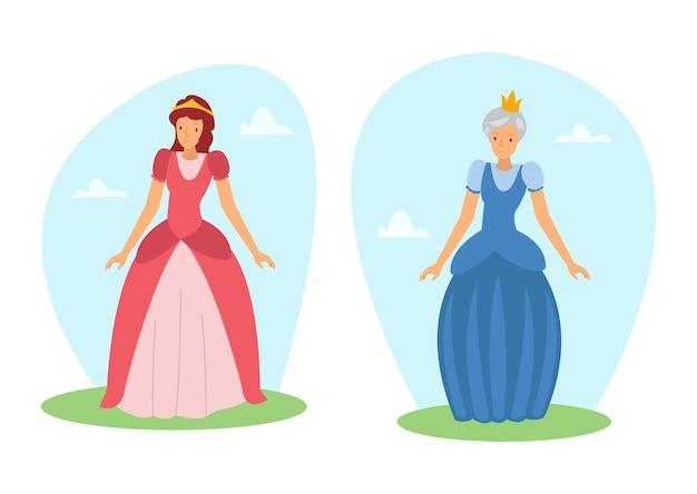 Het koningin-personage in een sprookje draagt een zeer luxe outfit