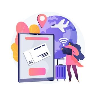 Het kopen van kaartjes online abstract concept illustratie