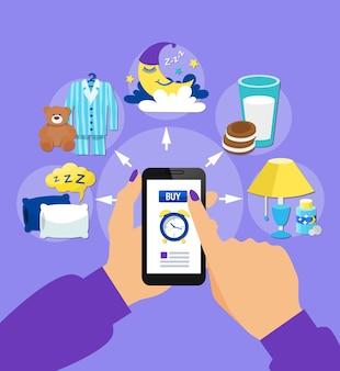Het kopen van slaaptoebehoren online vlakke poster met bedtijdsymbolenmenu op smartphonescherm in hand vectorillustratie vector