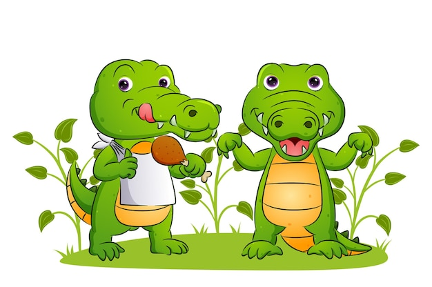 Het koppel van de krokodil eet de heerlijke kip in de tuin van de illustratie