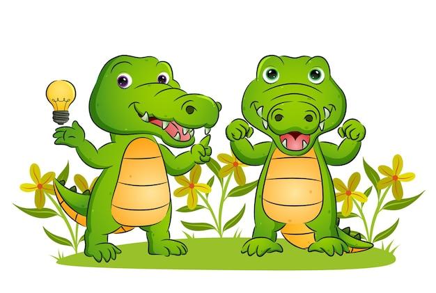Het koppel van de krokodil heeft een briljant idee in de illustratietuin