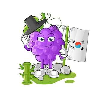 Het koreaanse karakter van grape. cartoon mascotte