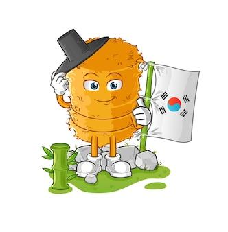 Het koreaanse karakter van het strobroodje. cartoon mascotte