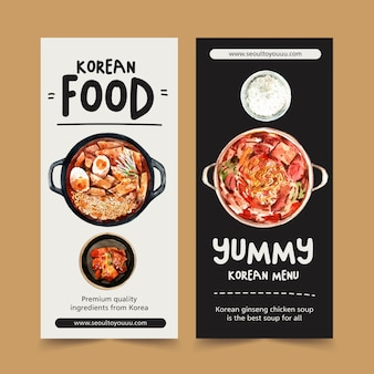 Het koreaanse ontwerp van de voedselvlieger met soep, de kruidige illustratie van de kippenwaterverf.