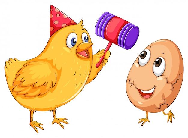 Het krakende ei van de kip met hamer