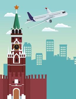 Het kremlin van moskou en het vliegtuig vliegen, kleurrijk ontwerp